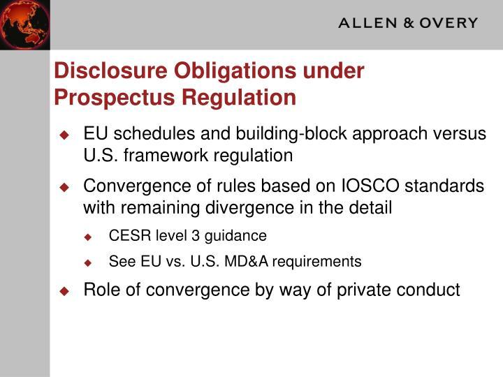 Disclosure Obligations under Prospectus Regulation