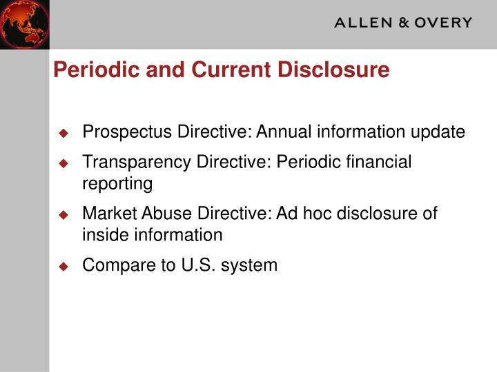 Periodic and Current Disclosure