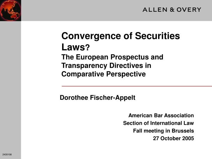 Convergence of Securities Laws