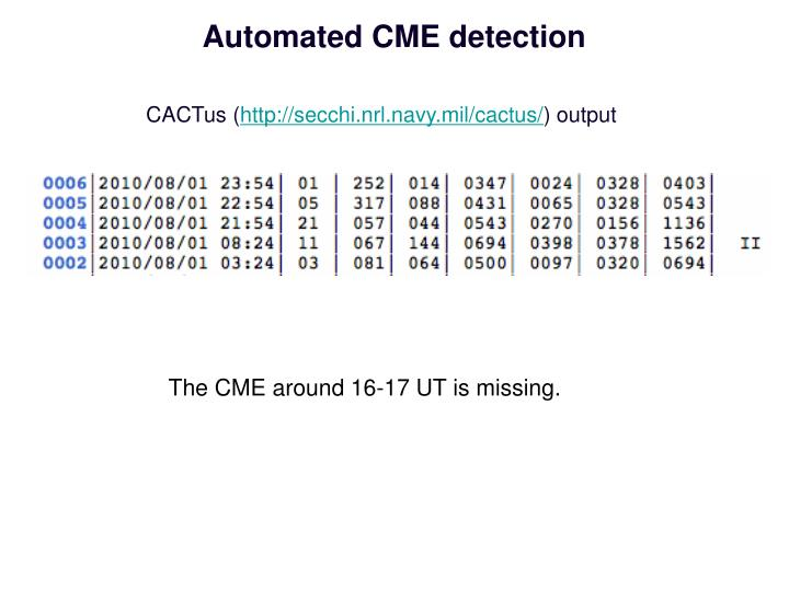 Automated CME detection