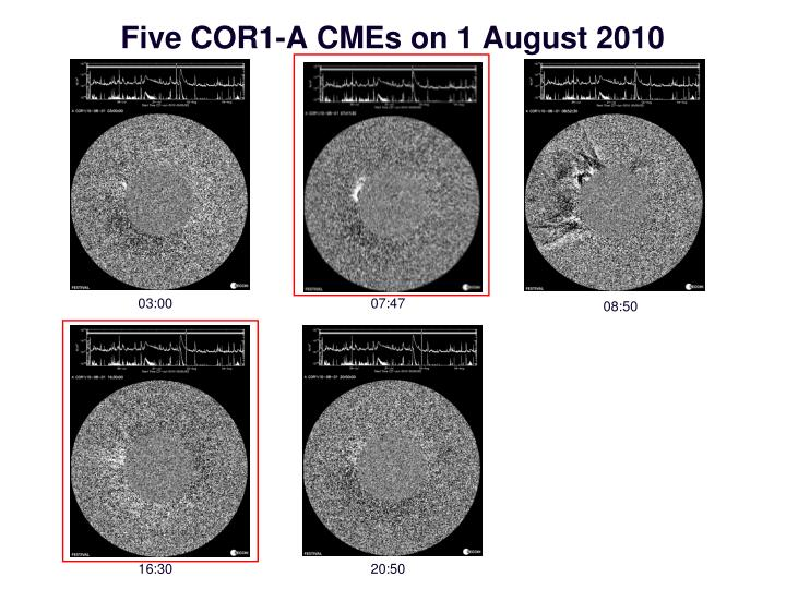 Five COR1-A CMEs on 1 August 2010