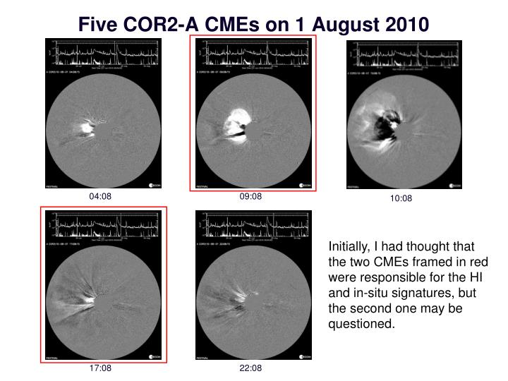 Five COR2-A CMEs on 1 August 2010