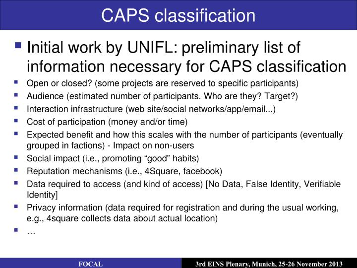 CAPS classification