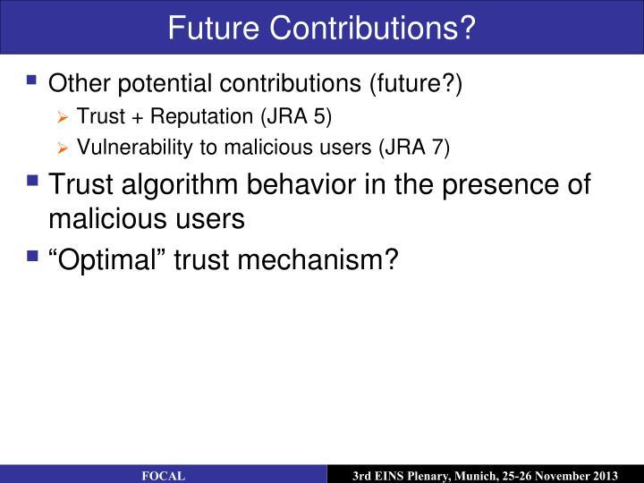 Future Contributions?