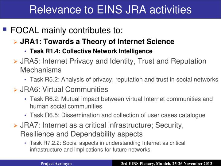 Relevance to EINS JRA activities