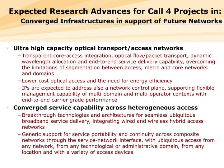 Expected Research Advances for Call 4 Projects in: