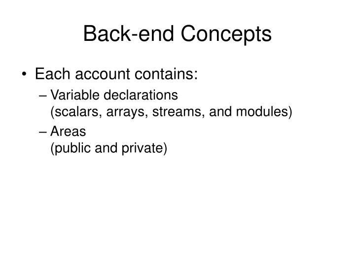 Back-end Concepts
