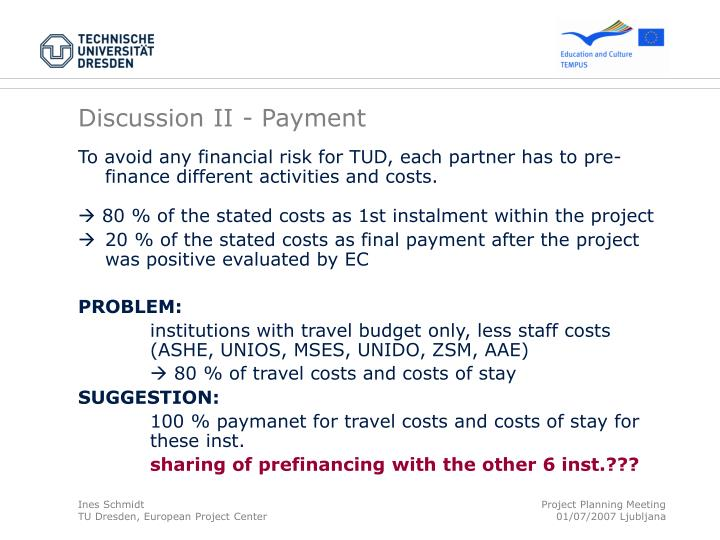 Discussion II - Payment