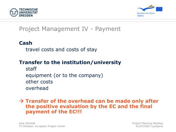 Project Management IV - Payment