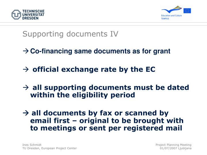 Supporting documents IV