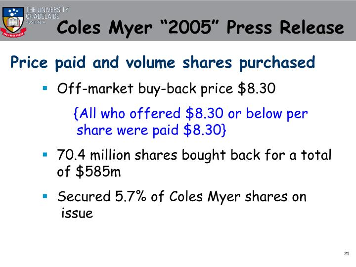 "Coles Myer ""2005"" Press Release"