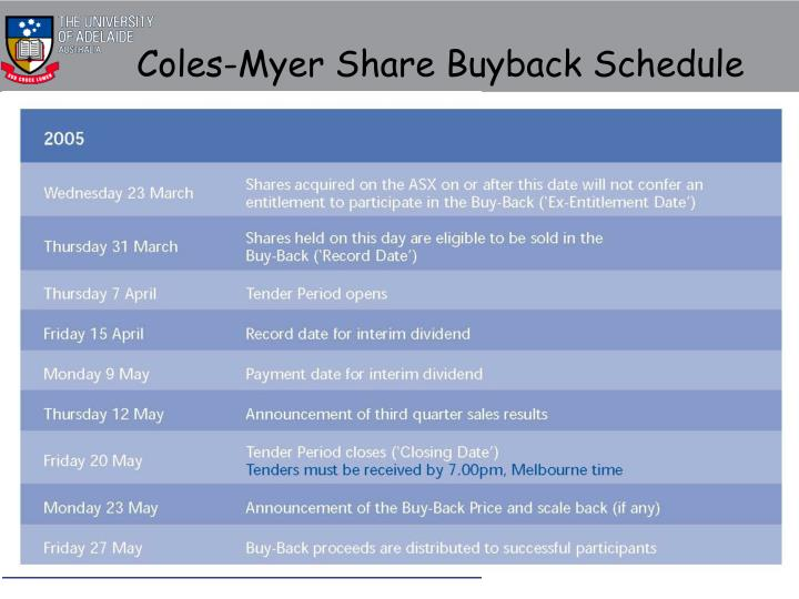 Coles-Myer Share Buyback Schedule