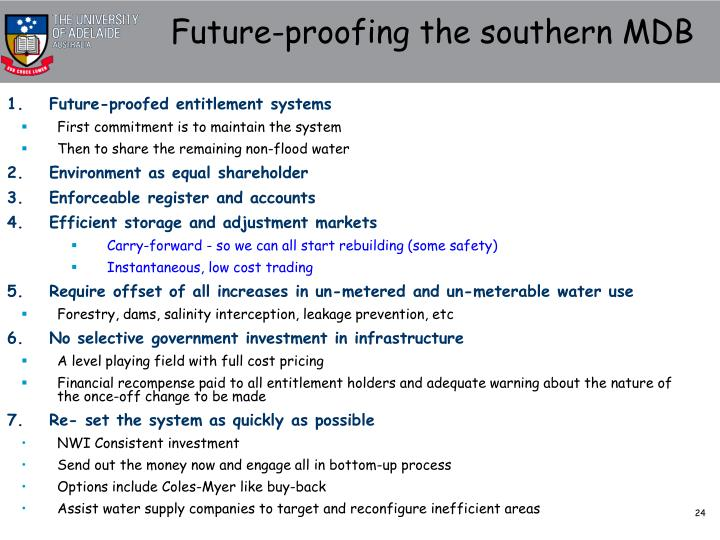 Future-proofing the southern MDB