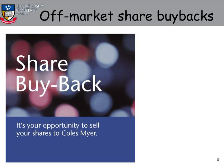 Off-market share buybacks