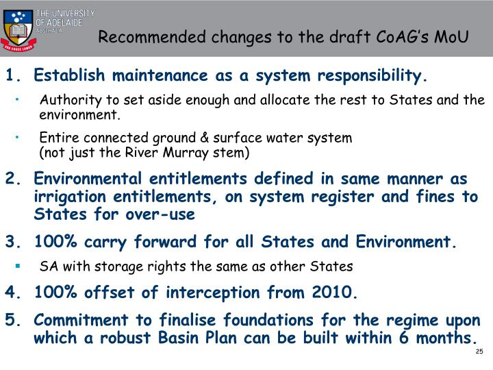 Recommended changes to the draft CoAG's MoU