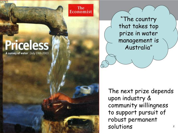 """The country that takes top prize in water management is Australia"""