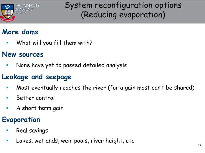 System reconfiguration options