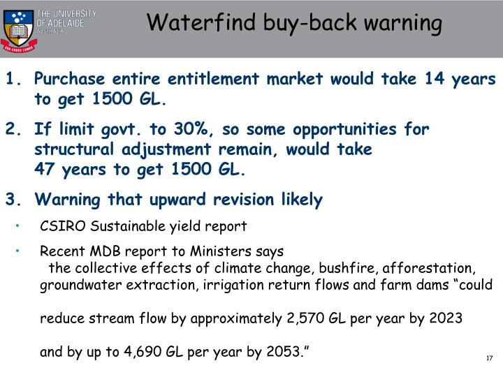 Waterfind buy-back warning