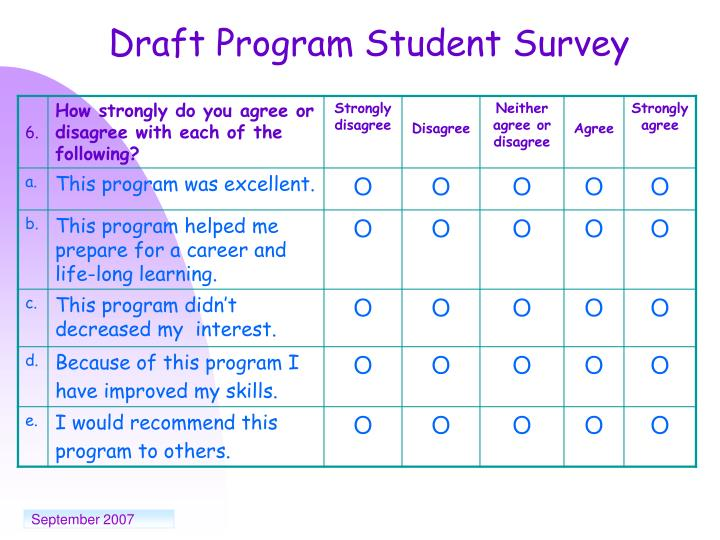 Draft Program Student Survey