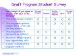 draft program student survey