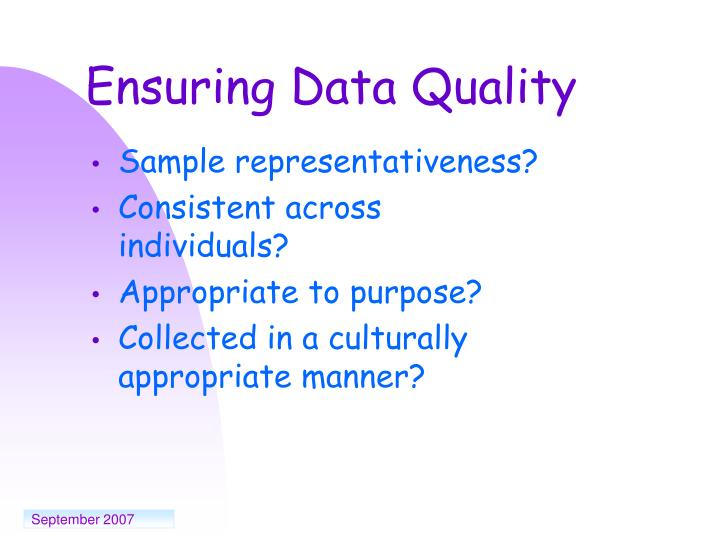 Ensuring Data Quality