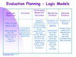 evaluation planning logic models
