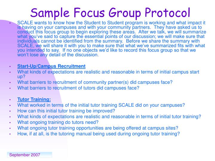 Sample Focus Group Protocol