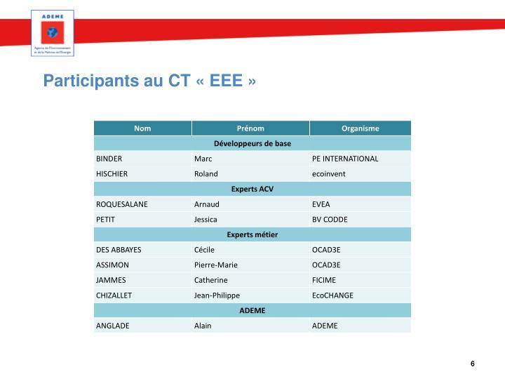 Participants au CT «EEE»