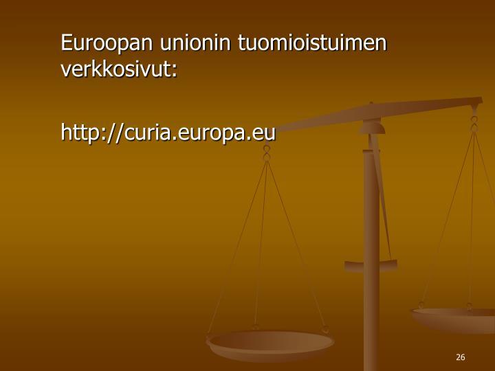 Euroopan unionin tuomioistuimen verkkosivut: