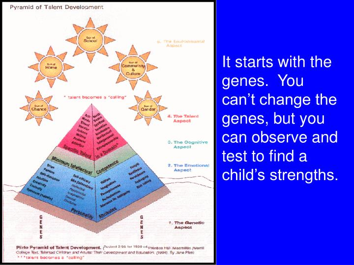 It starts with the genes.  You can't change the genes, but you can observe and test to find a child's strengths.