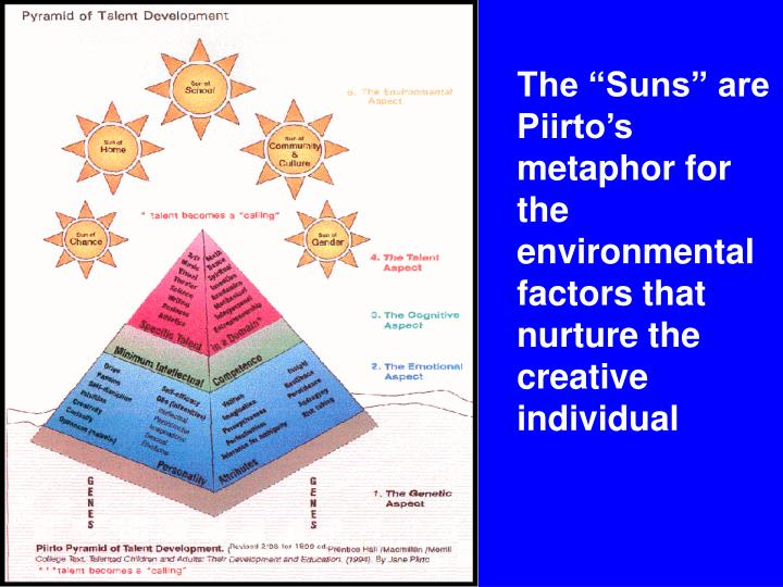 """The """"Suns"""" are Piirto's metaphor for the environmental factors that nurture the creative individual"""