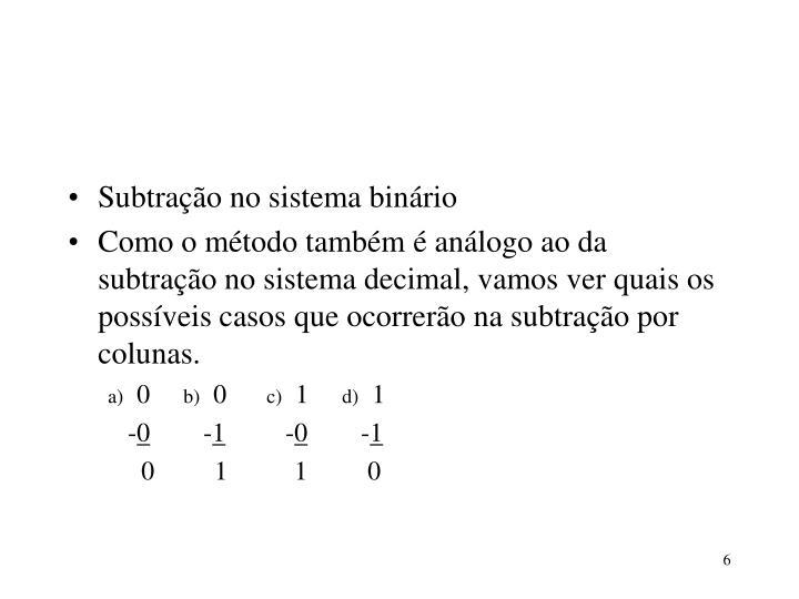 Subtração no sistema binário