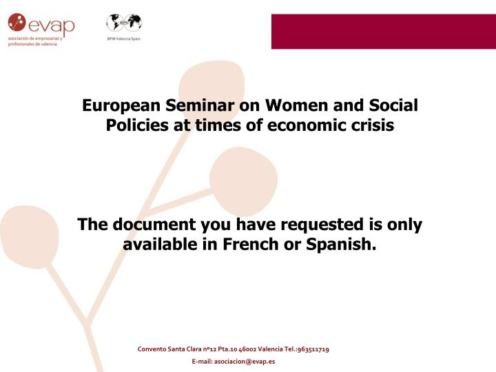 European Seminar on Women and Social Policies at times of economic crisis