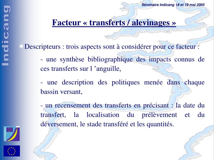 Facteur « transferts / alevinages »