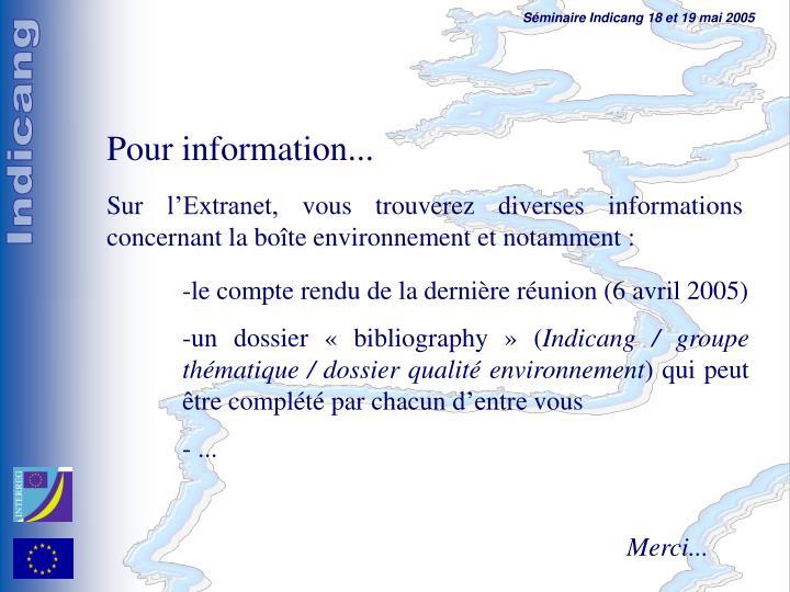 Pour information...