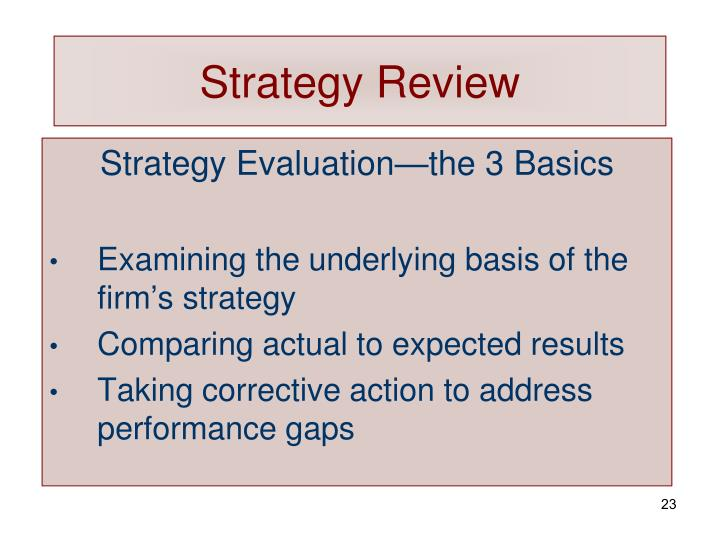 Strategy Review