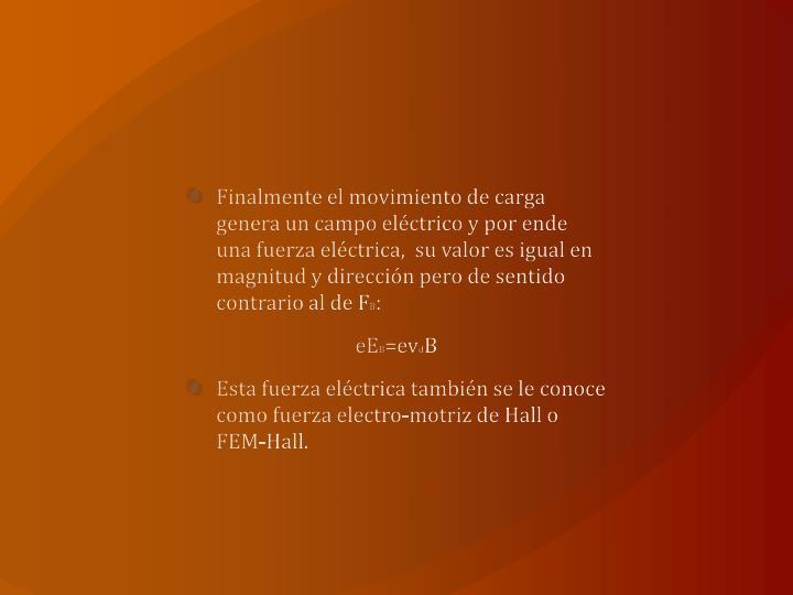 Finalmente el movimiento de carga genera un campo eléctrico y por ende una fuerza eléctrica,  su valor es igual en magnitud y dirección pero de sentido contrario al de F