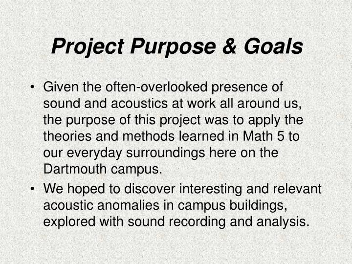 Project purpose goals