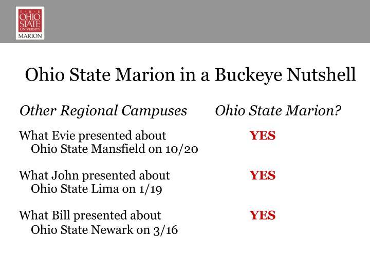 Ohio State Marion in a Buckeye Nutshell