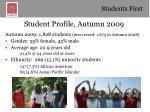 student profile autumn 2009