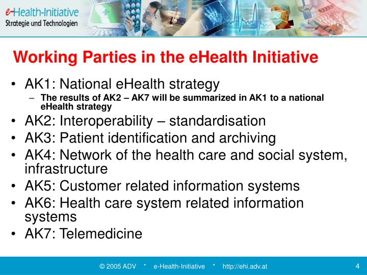 Working Parties in the eHealth Initiative