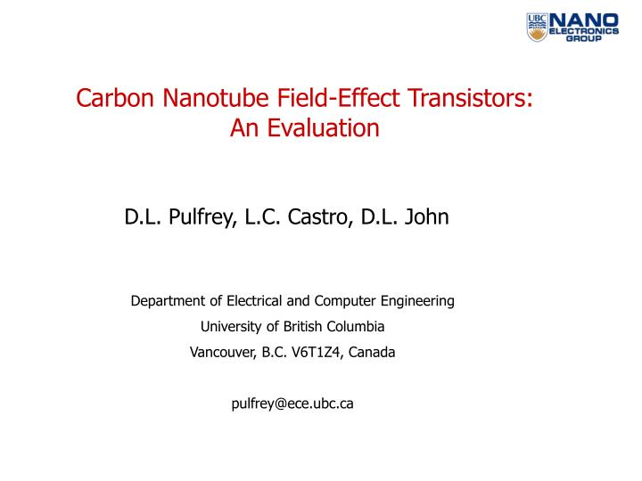 Carbon Nanotube Field-Effect Transistors: