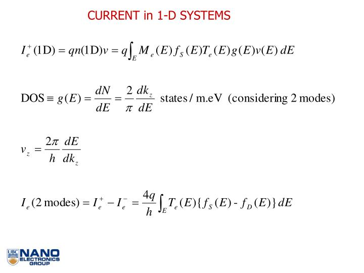 CURRENT in 1-D SYSTEMS