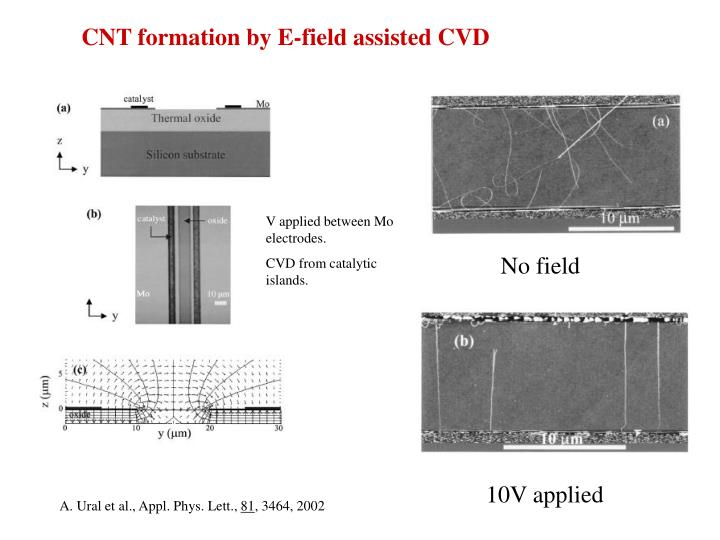CNT formation by E-field assisted CVD