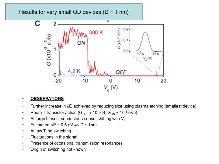 Results for very small QD devices (D ~ 1 nm)