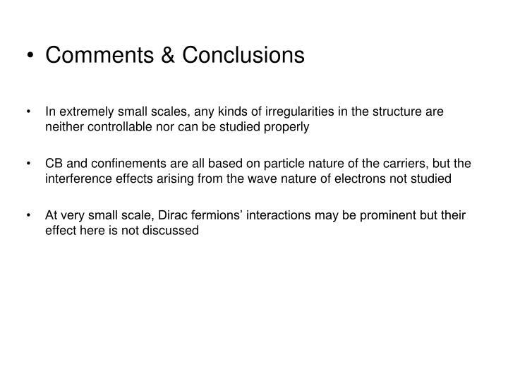Comments & Conclusions