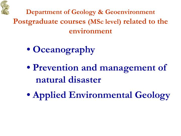 Department of Geology & Geoenvironment
