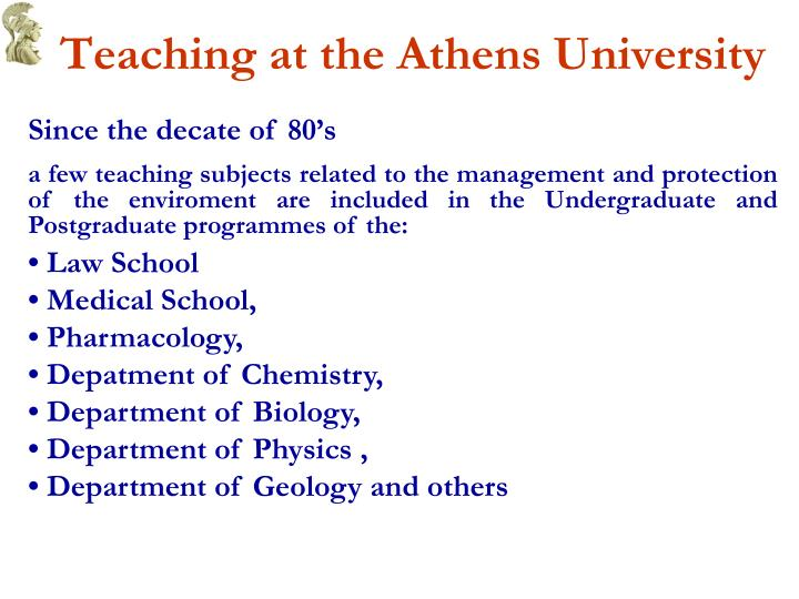 Teaching at the athens university