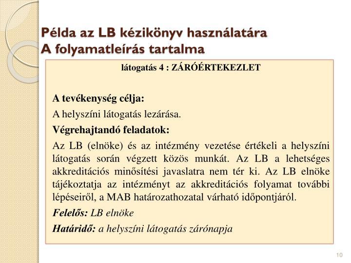 Példa az LB kézikönyv használatára