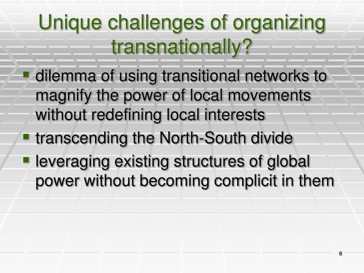 Unique challenges of organizing transnationally?